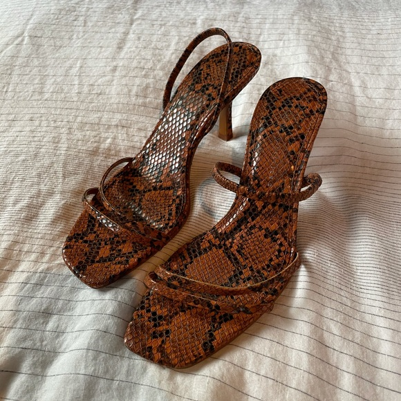 snake print strappy heels sandals
